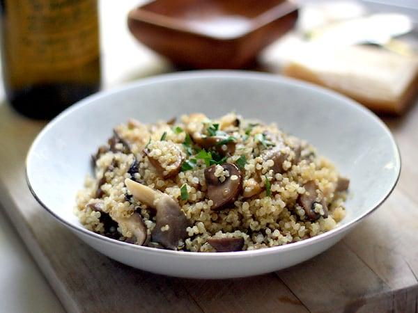 mushroom quinoa risotto bowl