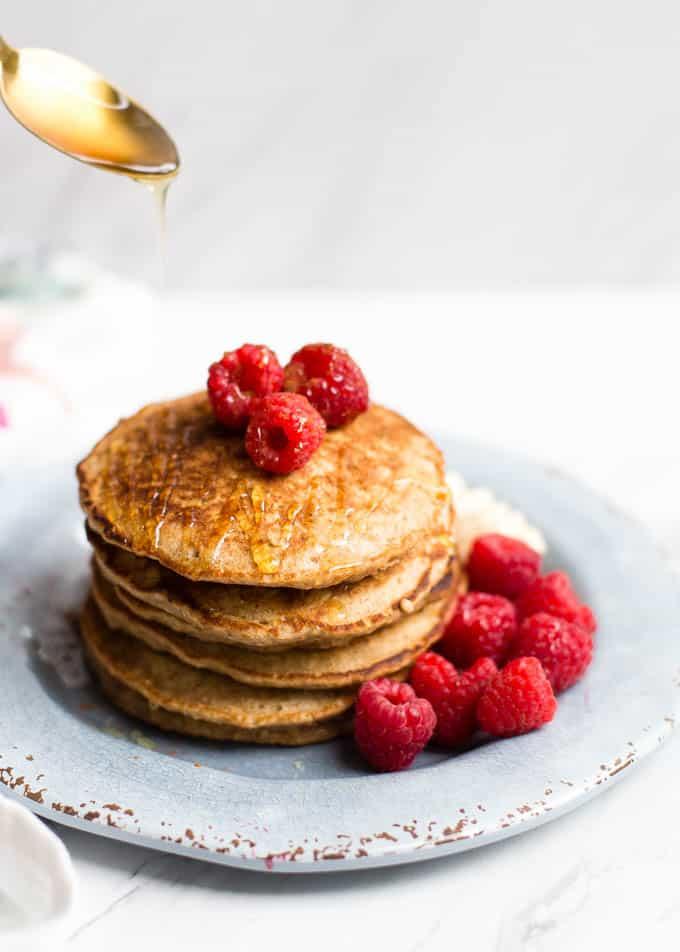 whole wheat oat honey pancakes 4