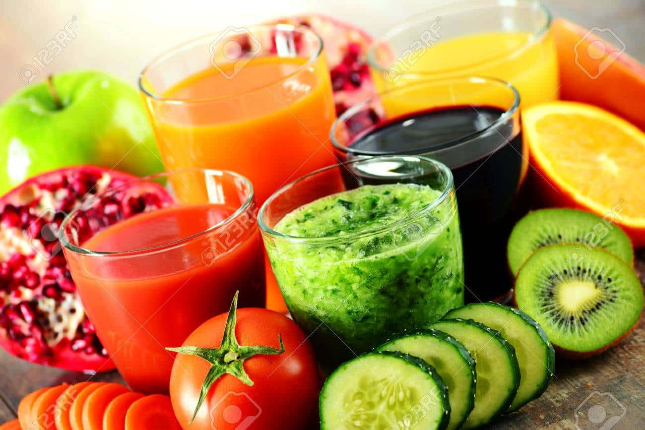 51290887 glasses of fresh organic vegetable and fruit juices detox diet