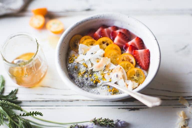 Chia Pudding Breakfast Bowls with Kumquats Berries Lavender Honey gluten free vegan 13 768x512