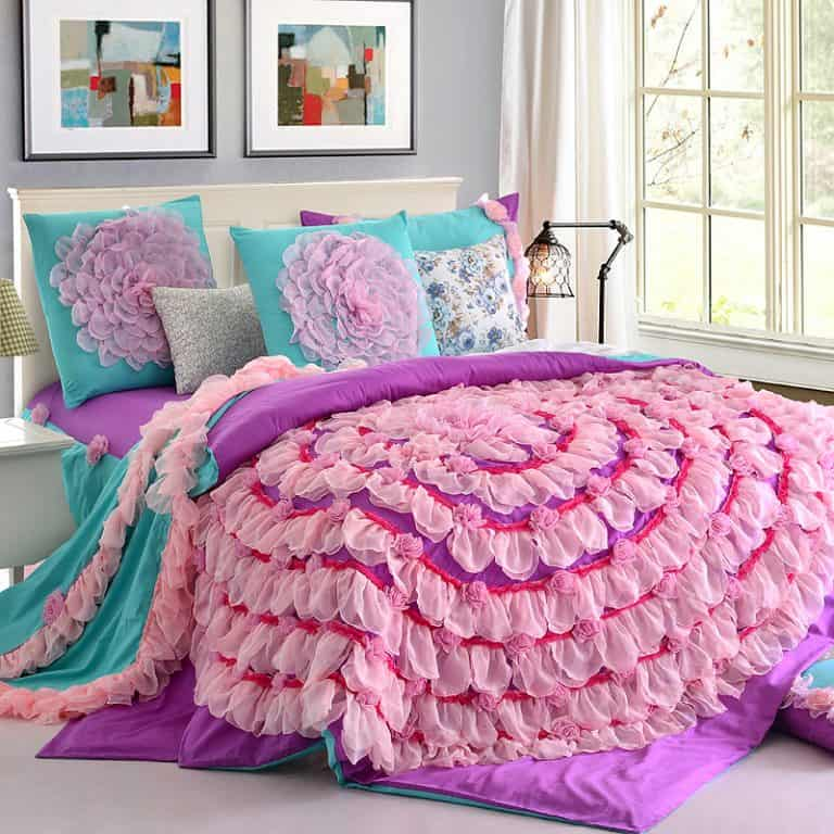 Designer Handmade Lace Flower Art Duvet Cover Teen Girl Princess Bedding Set Pink Purple Cotton Twin 768x768