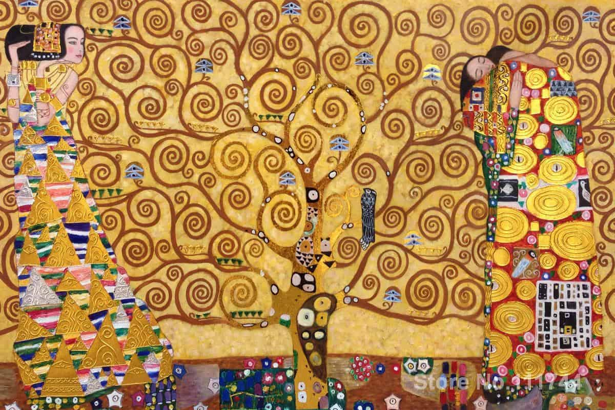Gold paintings The Tree of Life Stoclet Frieze Luxury Line Gustav Klimt art replicas oil on