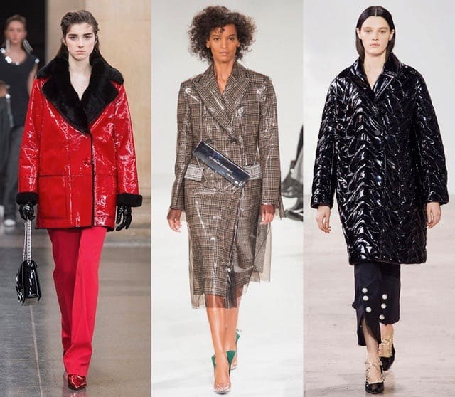 fall winter coat trends 2017 glossy runway christopher kane calvin klein ellery