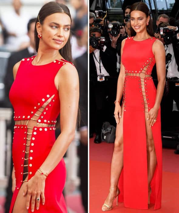 irina shayk goes knickerless in red dress at cannes 2018 1338053