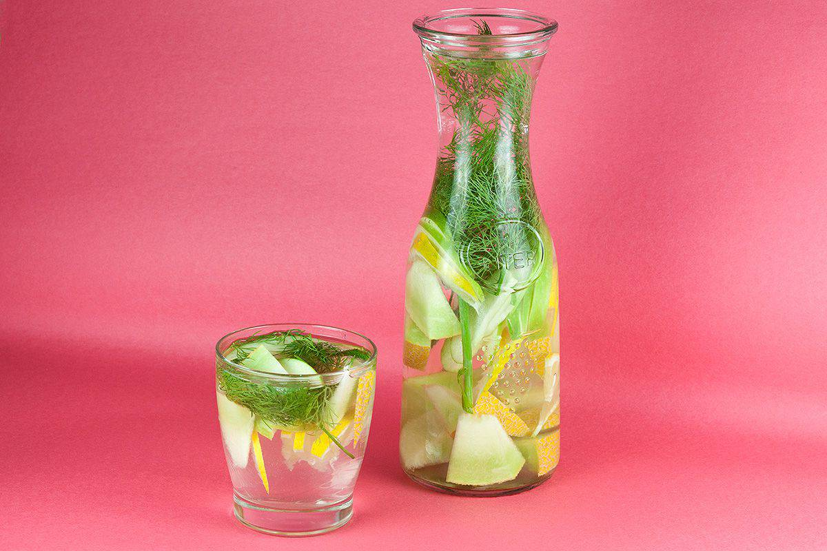 Dill melon lemon and apple detox water