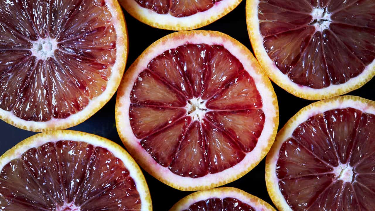 Slices of pink grapefruit