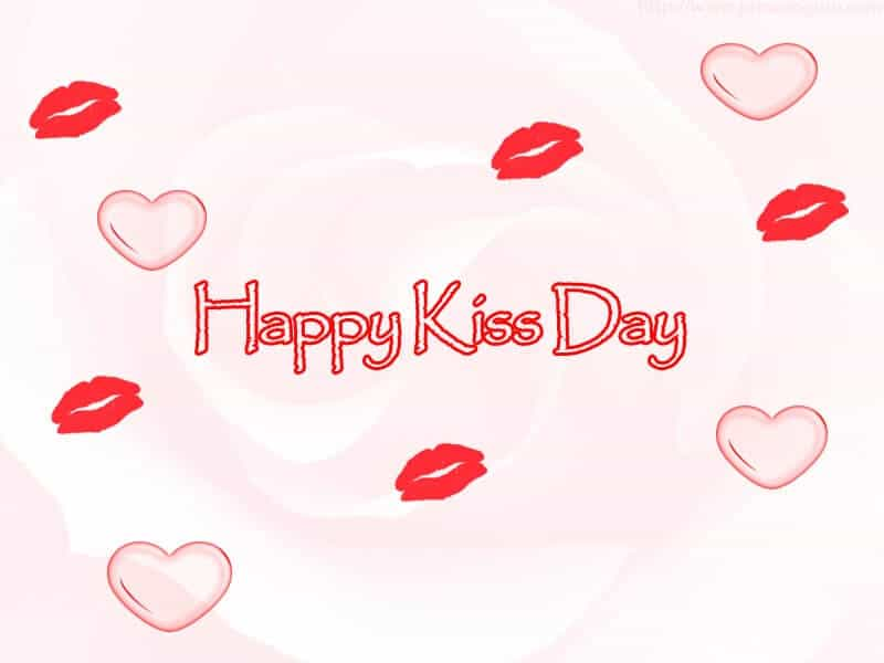 Happy Kiss Day Lip Marks And Hearts