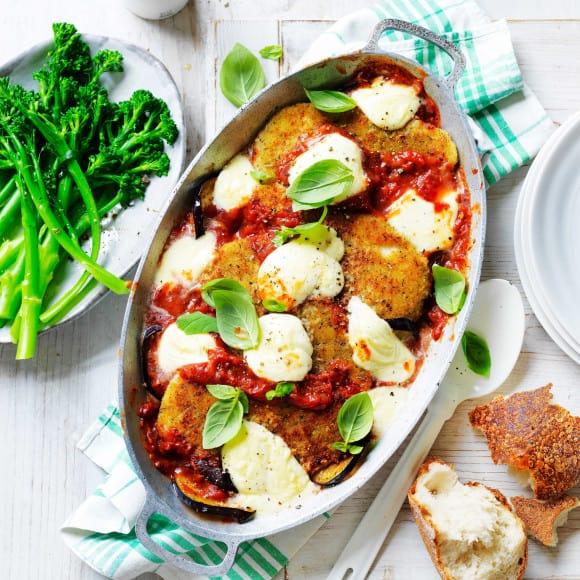 easy chicken schnitzle & eggplant parmigiana_10059