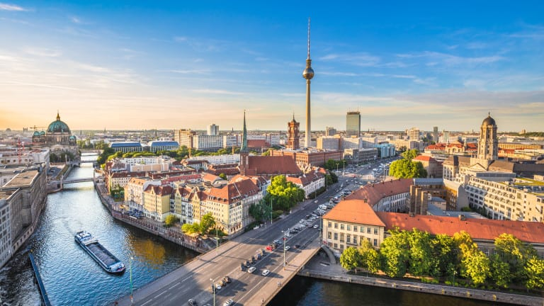 Aerial view of Berlin skyline with Spree river in summer, German