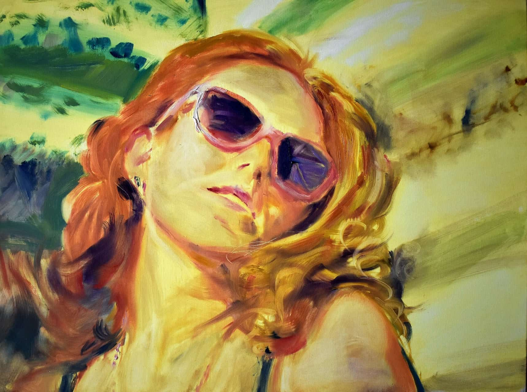 Велислава Гечева, Автопортрет с розови очила, 2021, 60 х 80